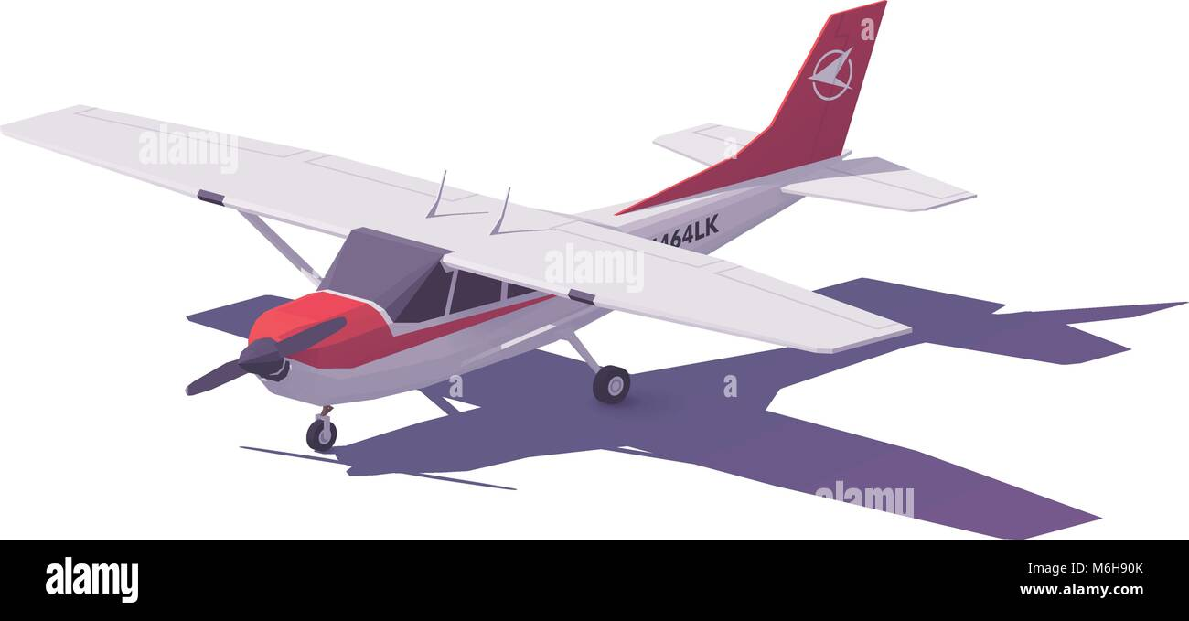 Vector low poly small airplane - Stock Image