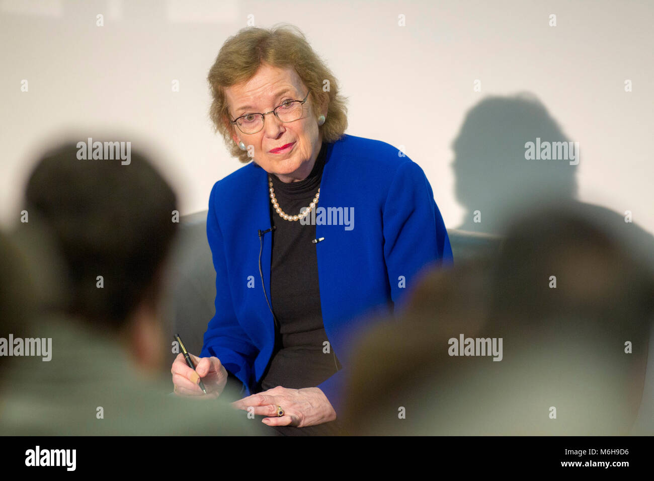 Mary Robinson lecturing at University - Stock Image