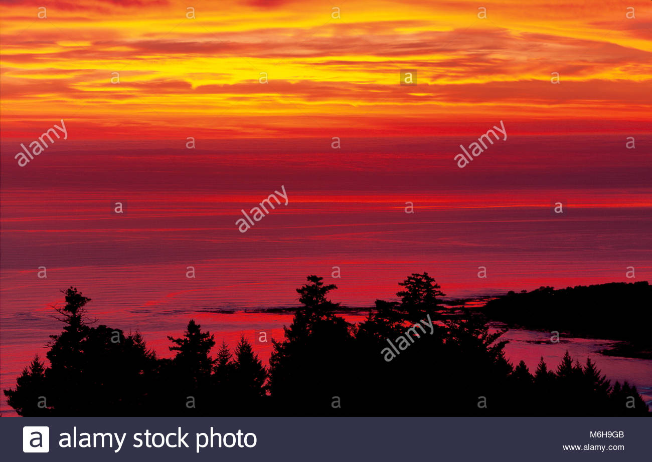 Dramatic Red Sunset over Bolinas from the Golden Gate National Recreation Area, California - Stock Image