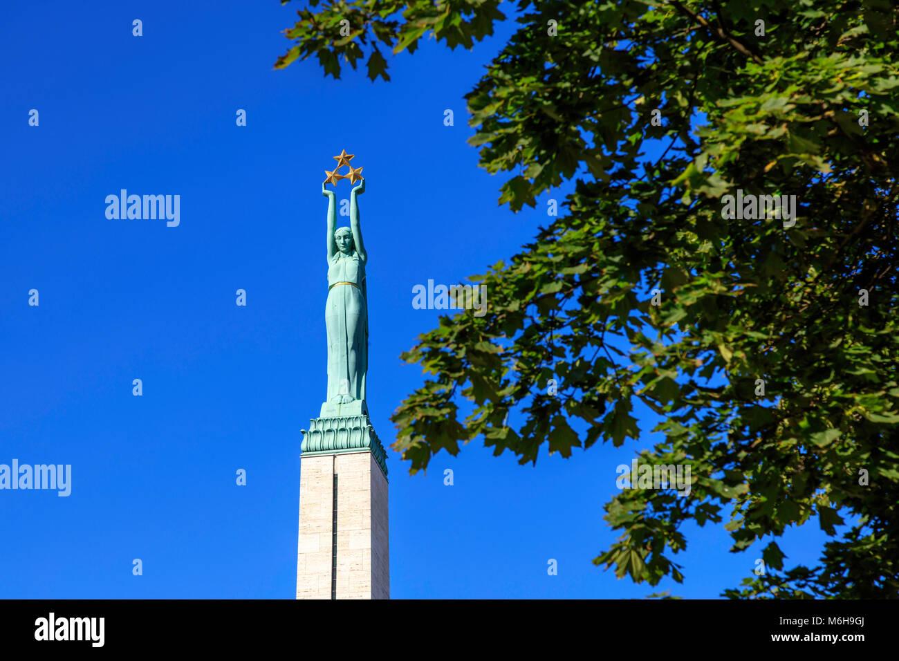 Monument of Freedom, Latvia Stock Photo