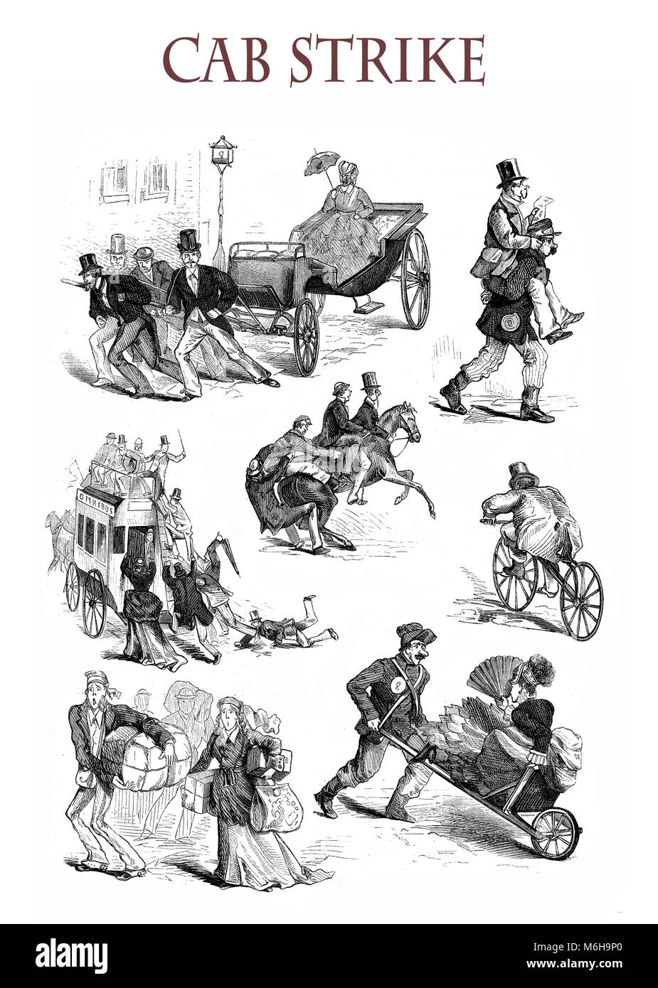Cab strike, no horses, funny situations and caricatures, XIX century illustration - Stock Image