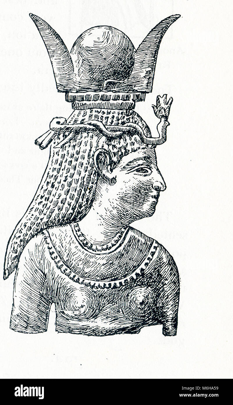 This illustration that deates to around 1898 shows the Middle Eastern goddess Astarte with a horned headdress. She - Stock Image