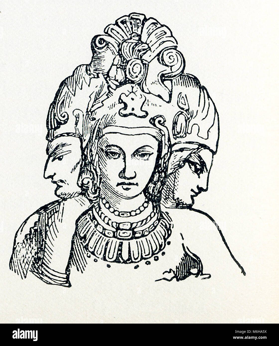 This illustration dates to around 1898 and shows the Trimurti. In Hinduism, the Trimurti represent the supreme divinity. - Stock Image