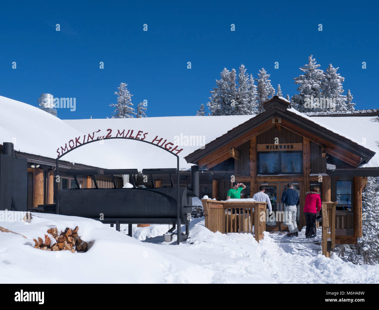 Wildwood day lodge and barbecue restaurant, winter, Vail Ski Resort, Vail, Colorado. Stock Photo