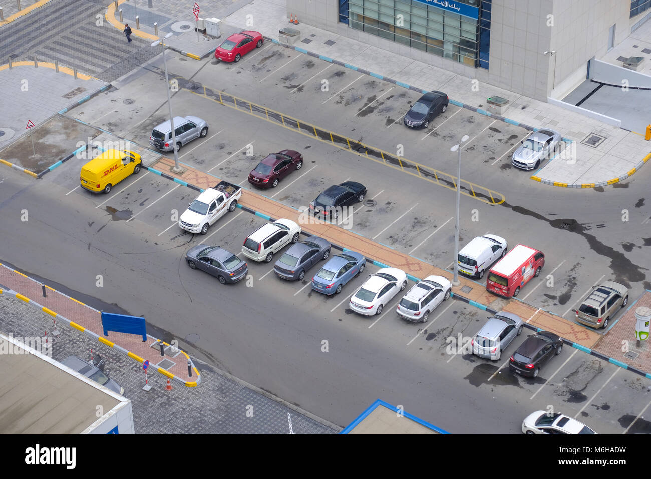 Top view / Ariel view of Parking Space and Parked vehicle - Stock Image