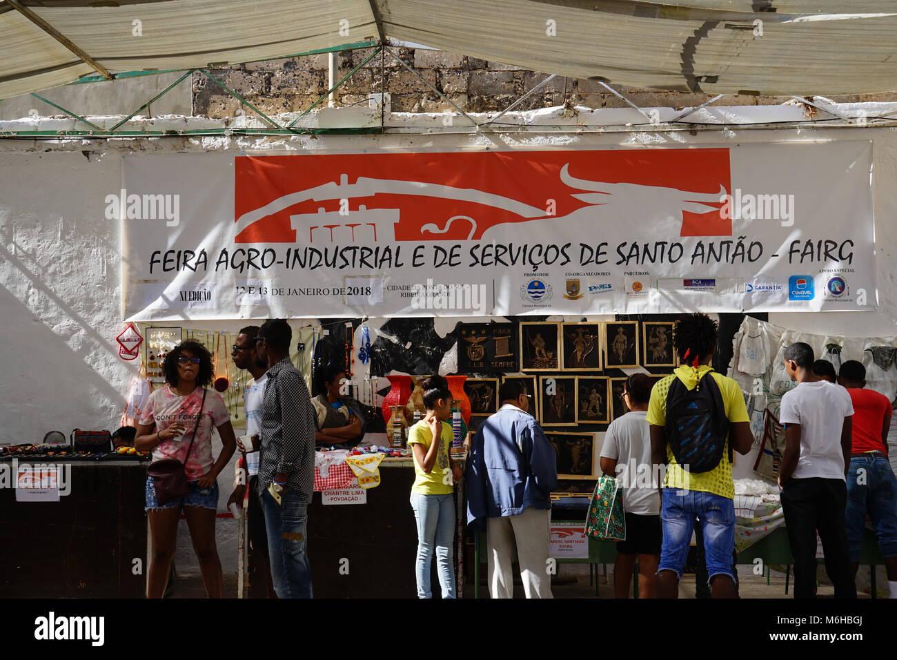 exhibition of region-specific products, Ponta do Sol, Santo Antao, Cape Verde - Stock Image