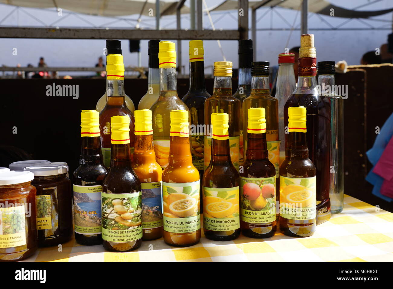 Punch of Fruit, exhibition of region-specific products, Ponta do Sol, Santo Antao, Cape Verde - Stock Image