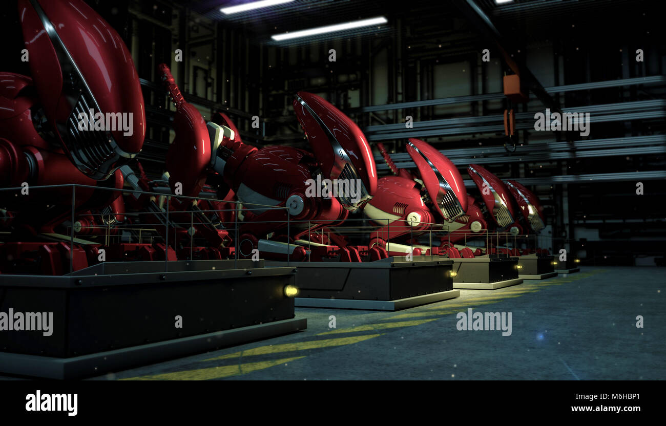 a series row of large red robots in the force of a fallout on pedestals in the shop floor at night. Sci-fi futuristic - Stock Image