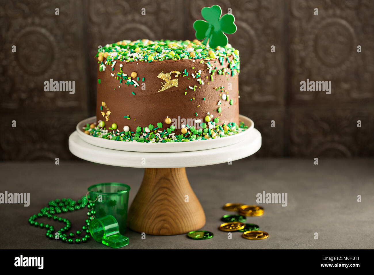 St Patricks day chocolate cake - Stock Image