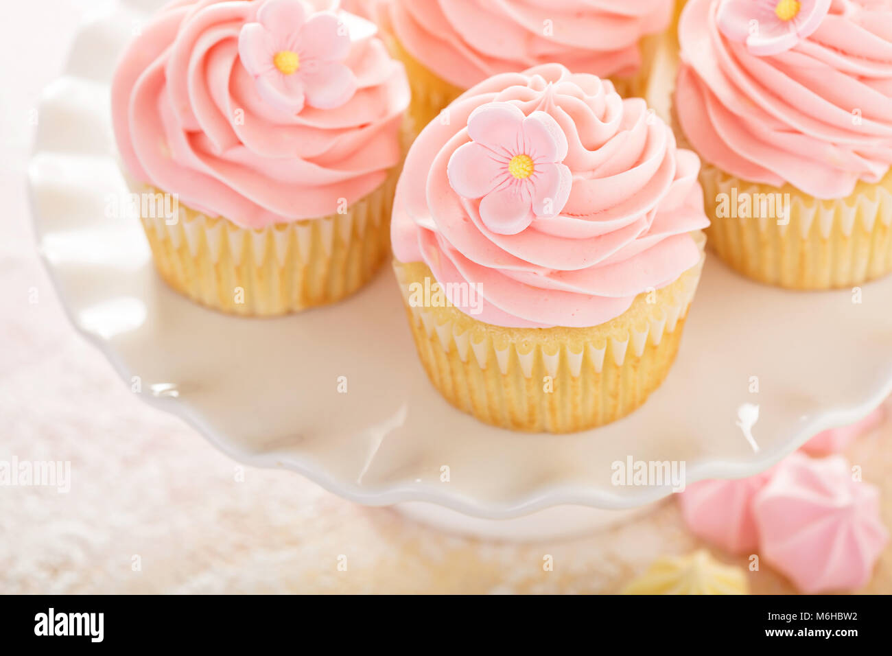 Vanilla strawberry cupcakes with sugar flower - Stock Image