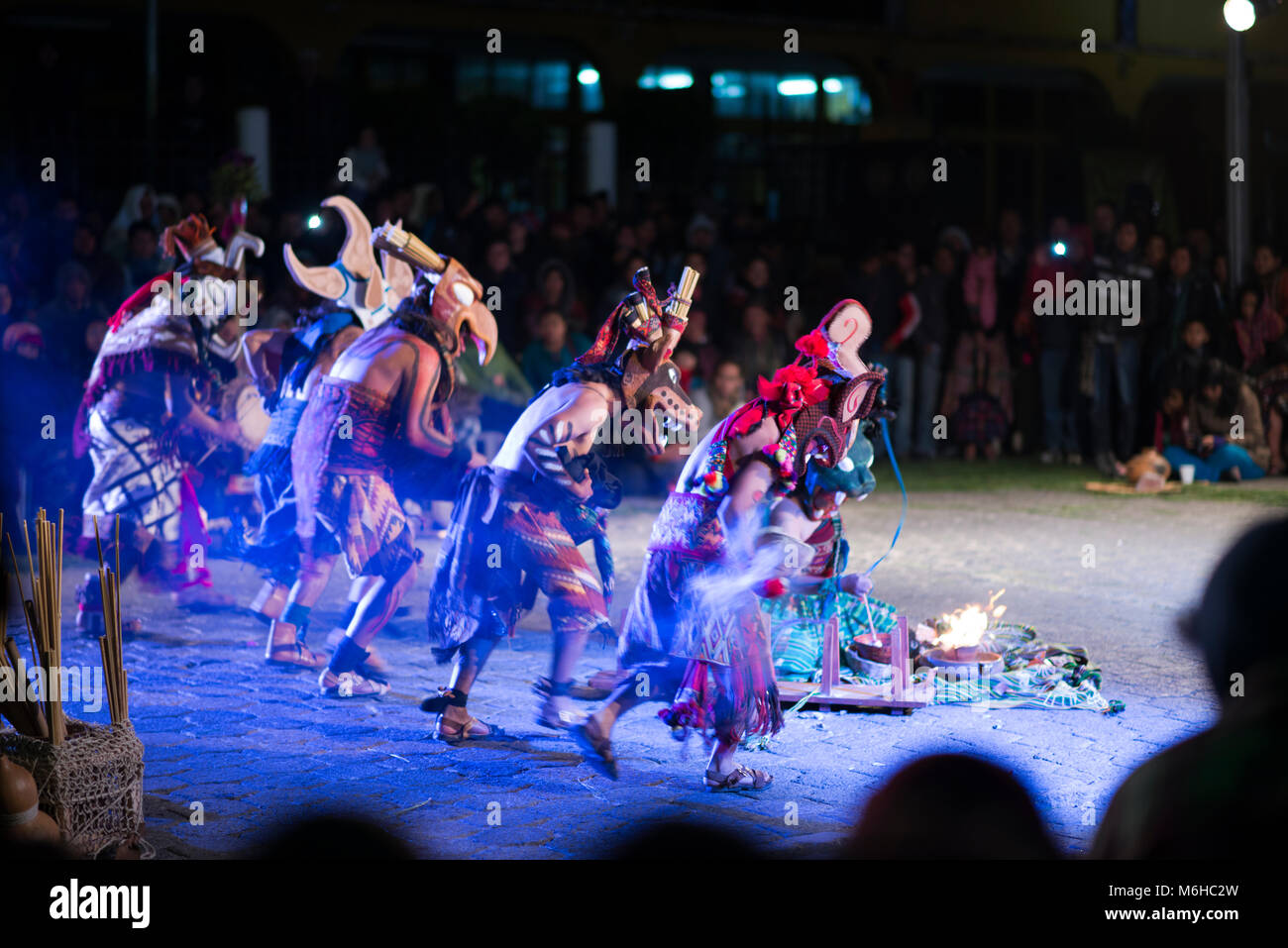 Performers dressed as jaguars at a theatrical re-enactment of an ancient Mayan ritual at the 2013 Rukux festival - Stock Image