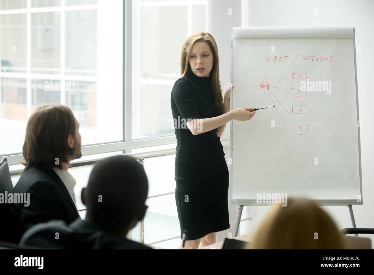 Serious businesswoman giving presentation to multi-ethnic busine - Stock Image