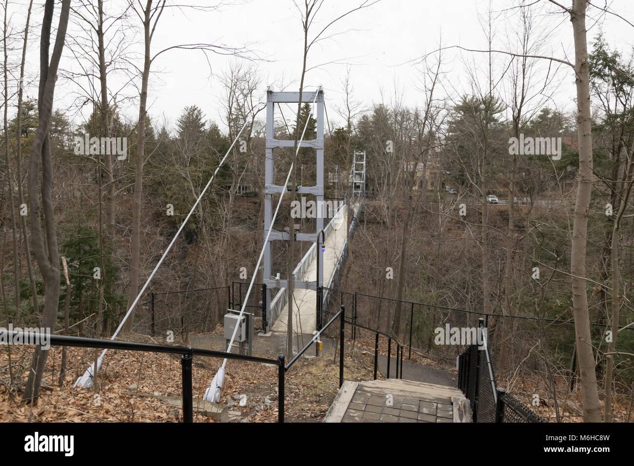 Thurston Avenue bridge from main campus toward North Campus, Cornell University Ithaca NY Stock Photo