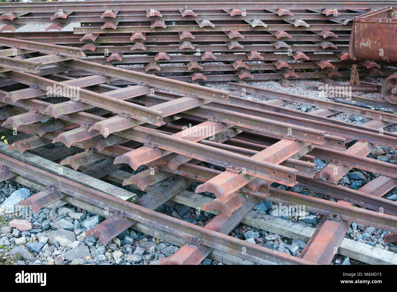 Piles of old mining rail tracks at Konnerud Mining Museum in Norway - Stock Image