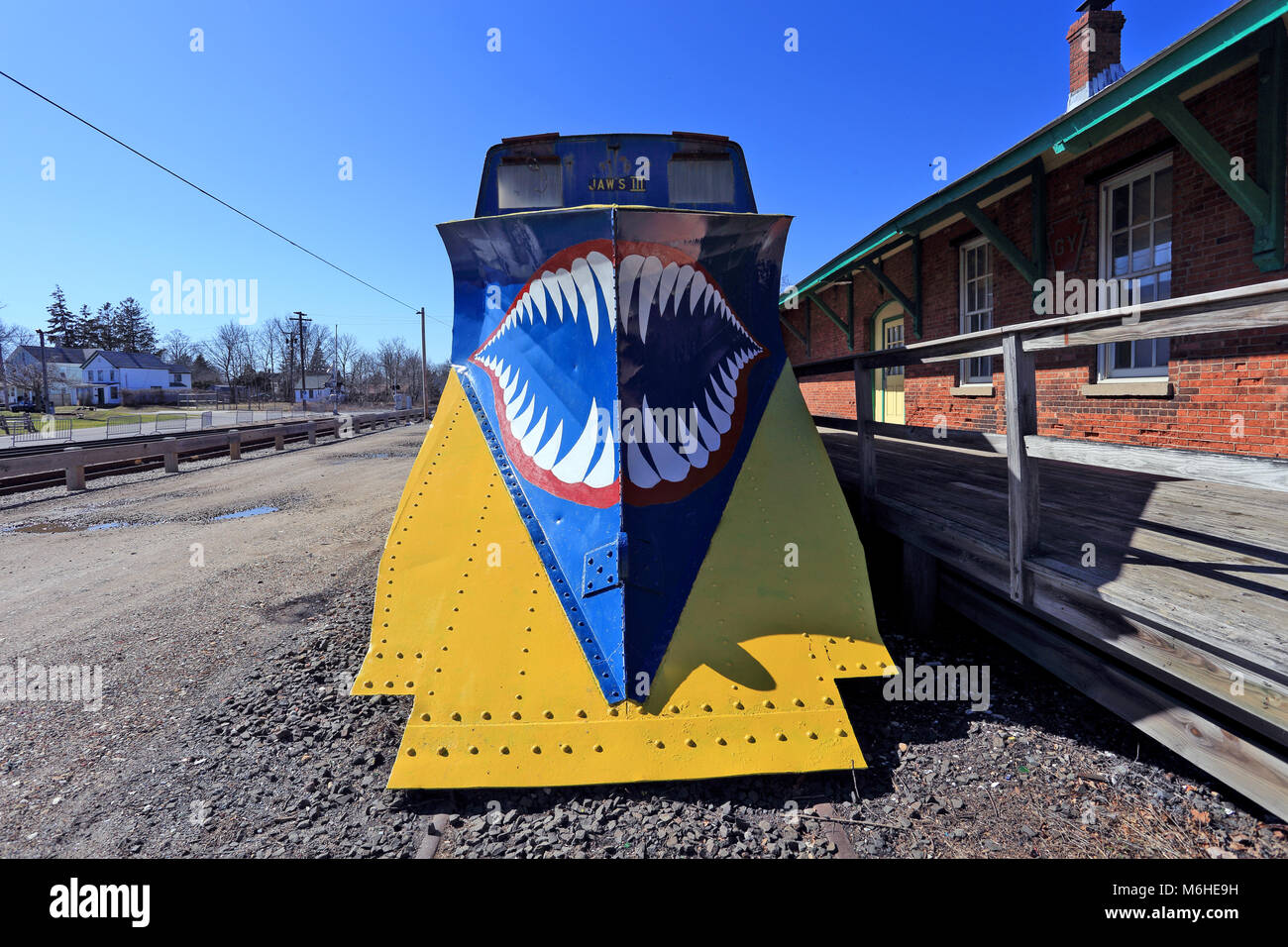 Railroad car used for snow removal Long Island New York - Stock Image