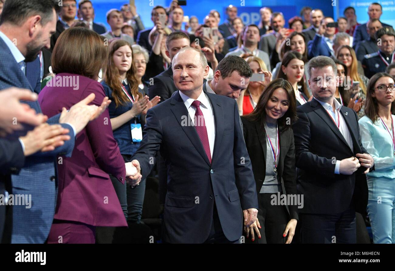 Russian President Vladimir Putin greets members of the Fifth Truth and Justice Media Forum, organized by the Russian - Stock Image