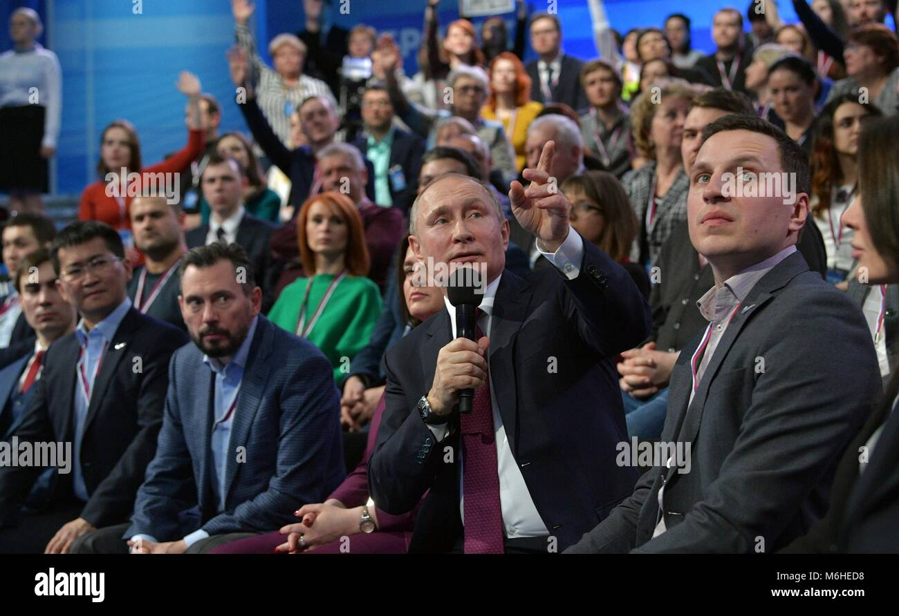 Russian President Vladimir Putin addresses members of the Fifth Truth and Justice Media Forum, organized by the - Stock Image