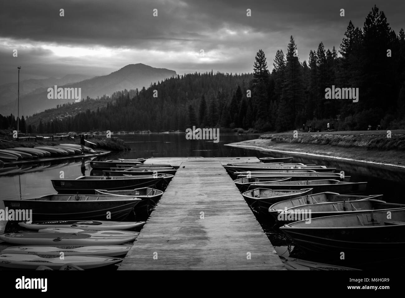 Black and White Ominous Dock - Stock Image