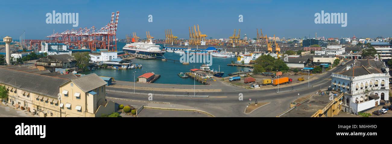 Colombo harbor in Sri Lanka big size panorama Stock Photo