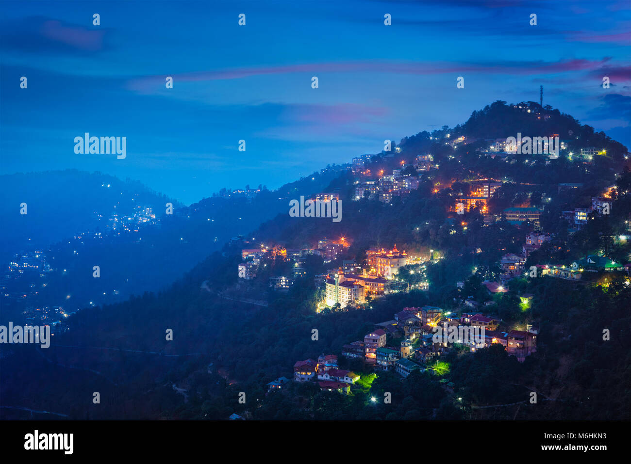 Night view of Shimla town, Himachal Pradesh, India Stock Photo