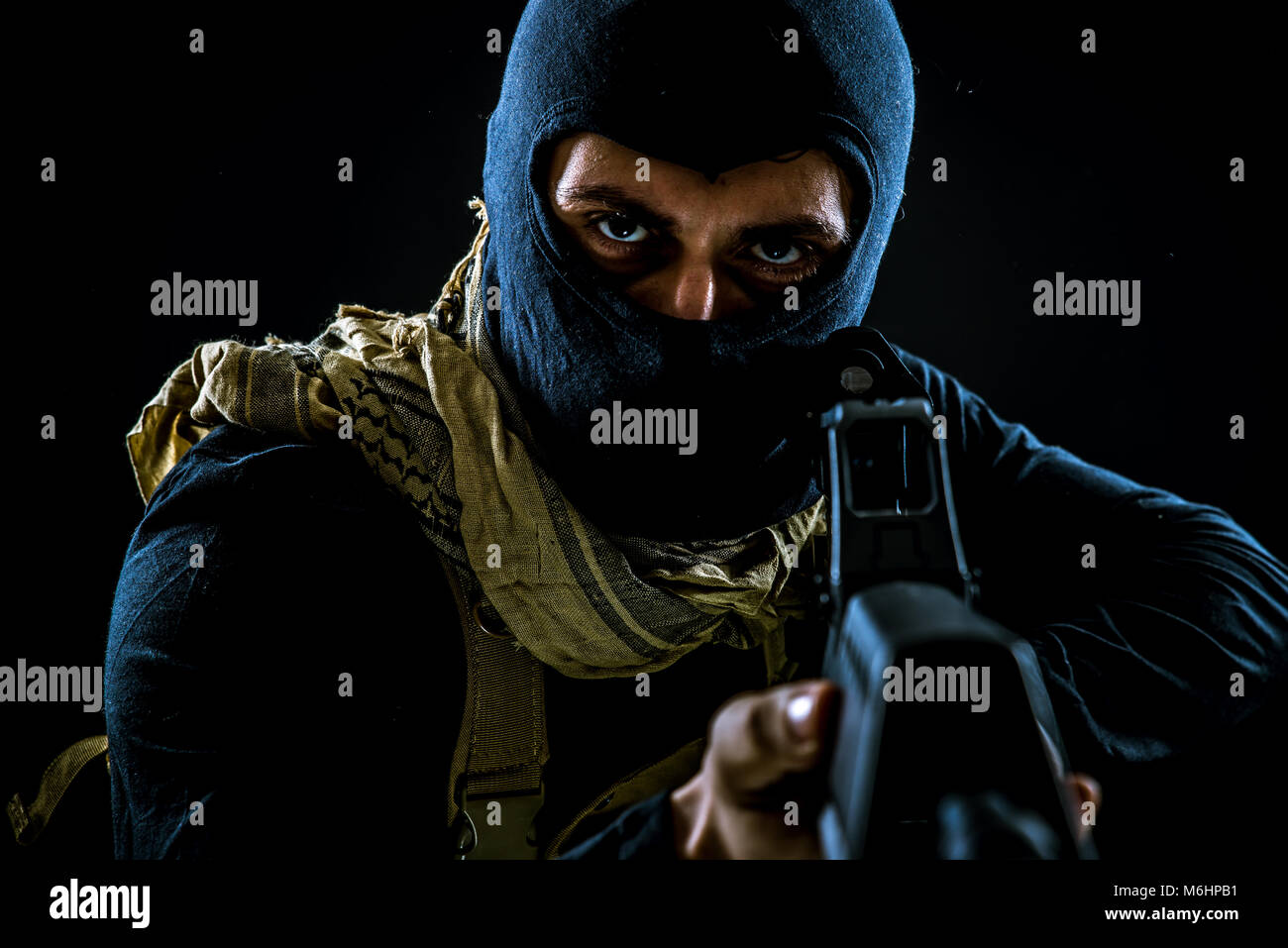Terrorist criminal portrait Stock Photo