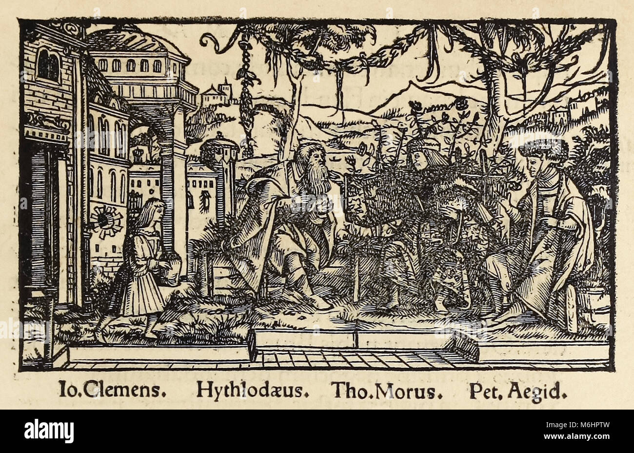 Woodcut from 1518 third edition of 'Utopia' by Sir Thomas More (1478–1535) published in Basel showing the author - Stock Image