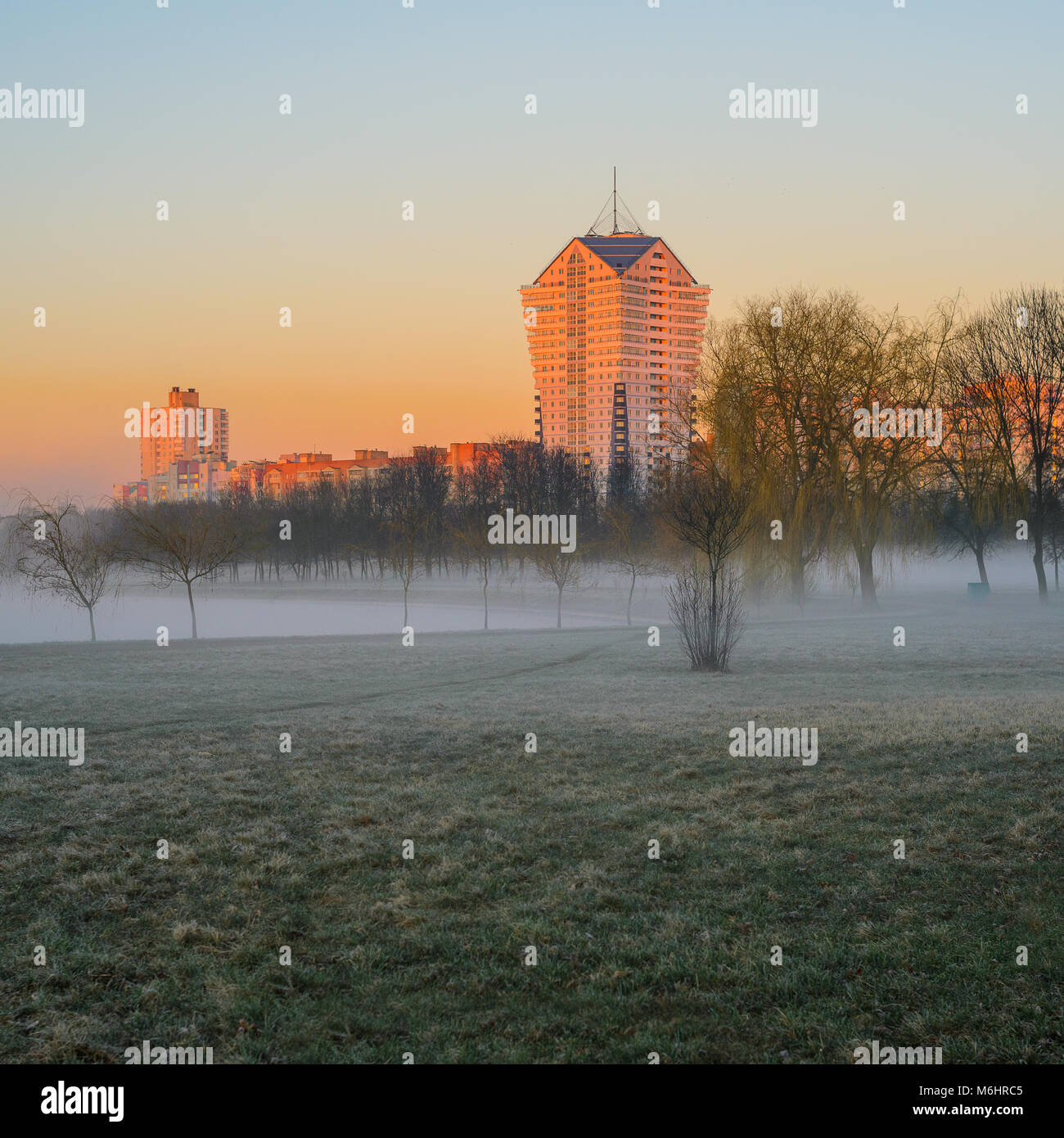 Belarus, Minsk - April 4, 2017: landscape of the Writers' Park in the Morning Mist, View of the Residential - Stock Image