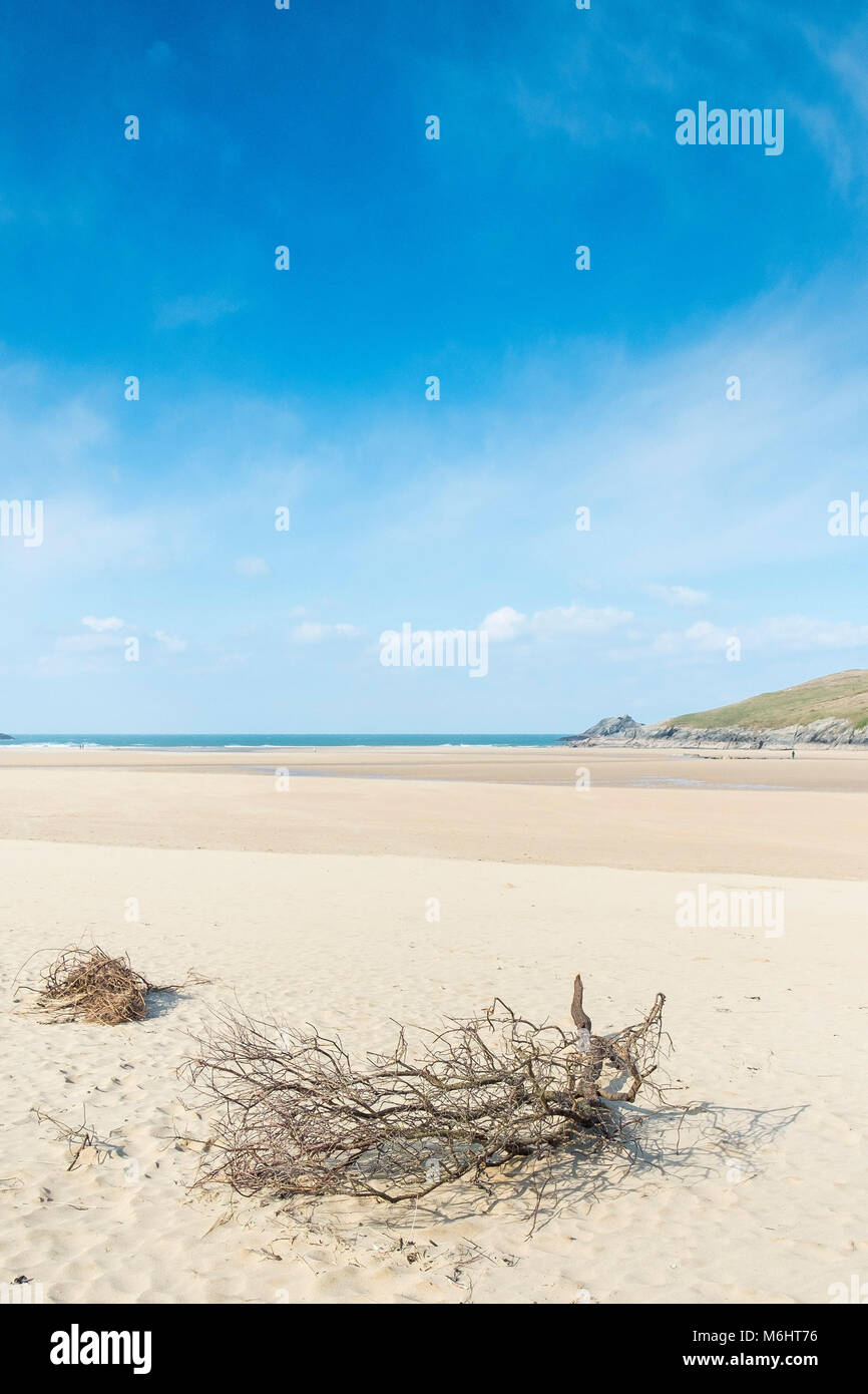 The award winning Crantock Beach in Newquay Cornwall. - Stock Image