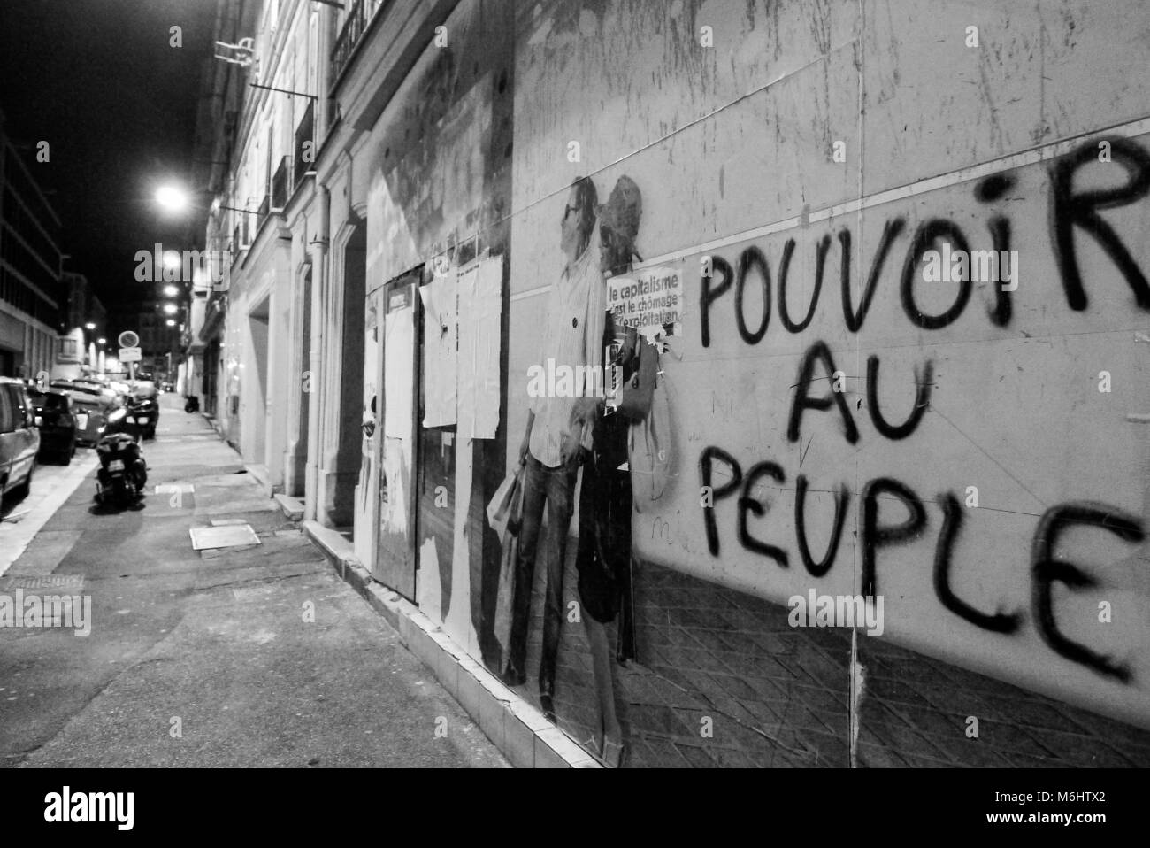 Anarchist grafiti, 'Power to the people', Marseille, France - Stock Image