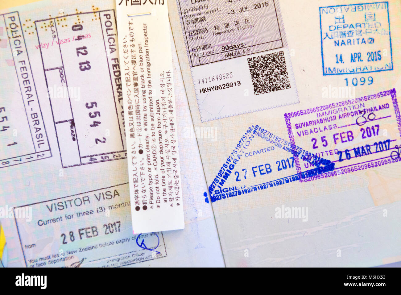 Page of passport stamps inside a passport - Stock Image