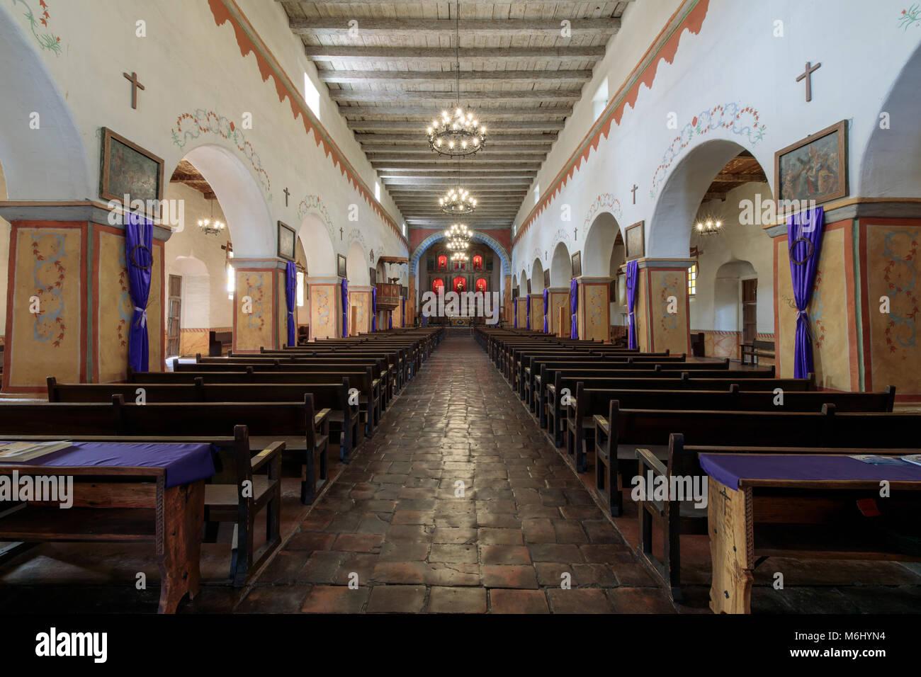 San Juan Bautista, California - March 3, 2018: Interior of Church of Old Mission San Juan Bautista Stock Photo