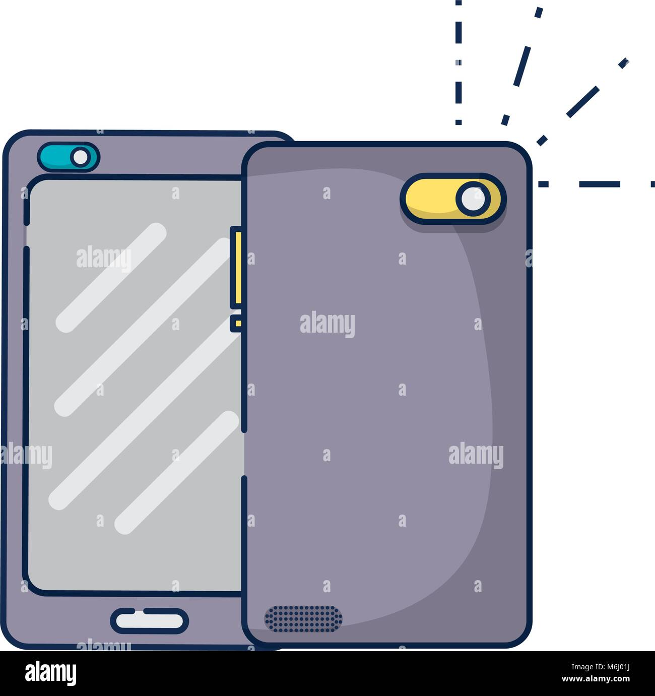 smartphone technology in front and rear style - Stock Vector