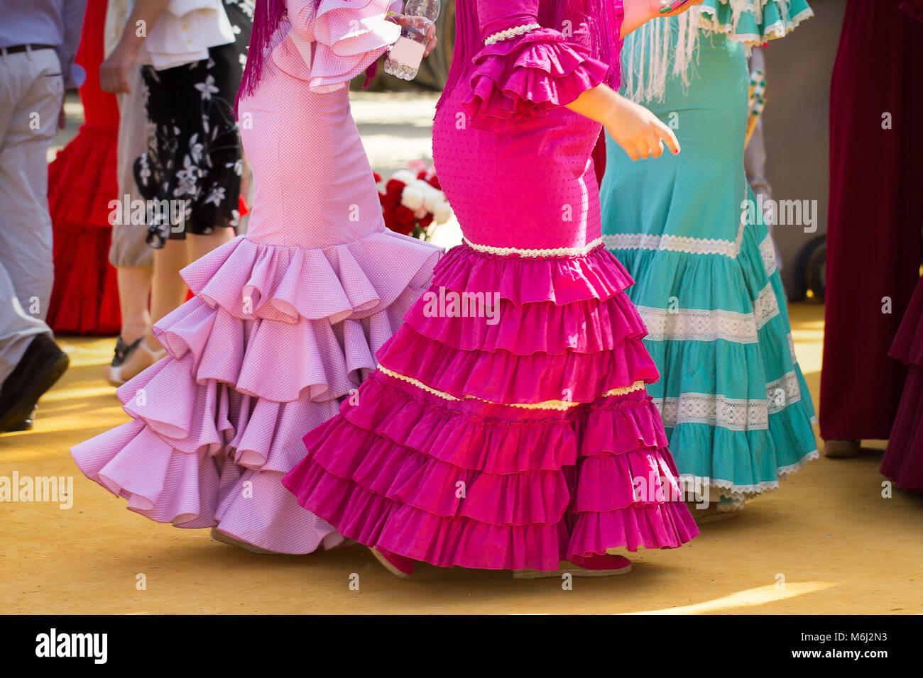 traditional woman flamenco skirt - Stock Image