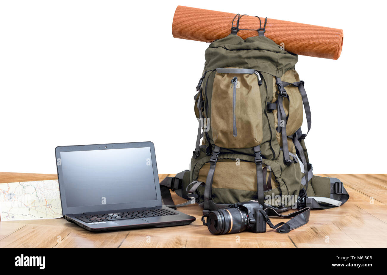 backpack laptop and camera - Stock Image