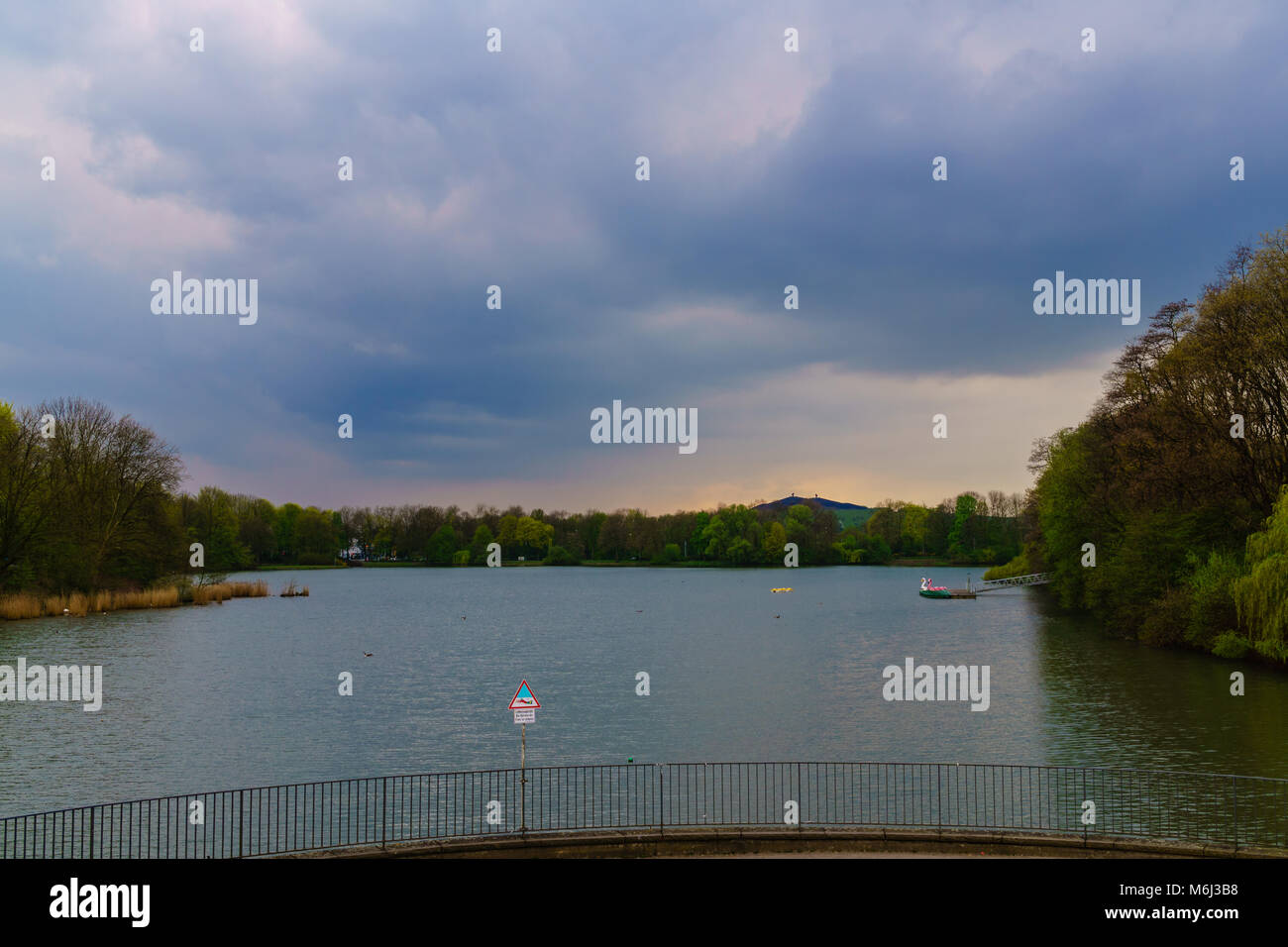 berger see in Gelsenkirchen at sunset - Stock Image