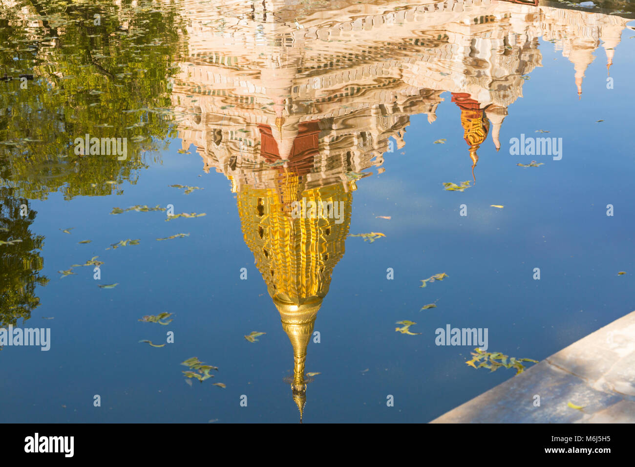 Reflection of Ananda Pagoda, Ananda Temple at Bagan, Myanmar (Burma), Asia in February - Stock Image