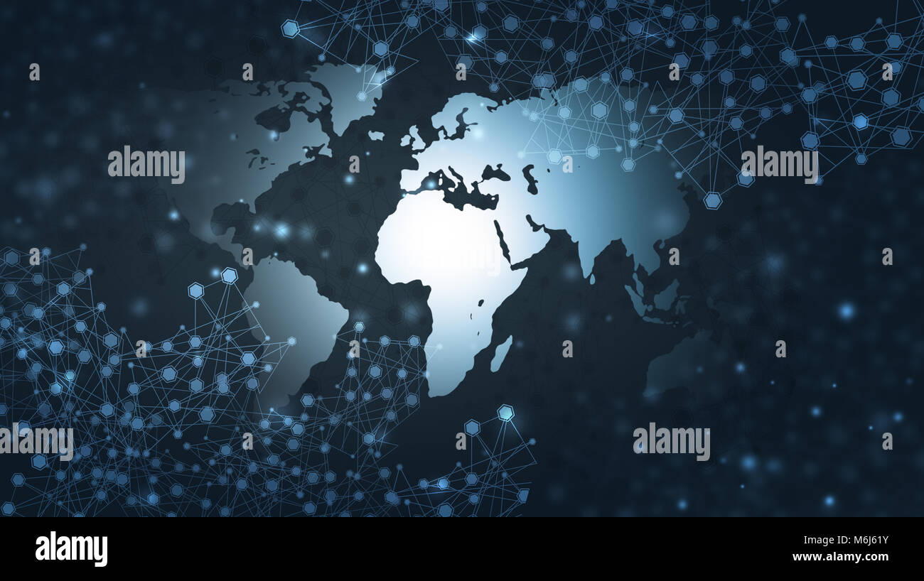 abstract global web communicatins and connections technology network blue background - Stock Image