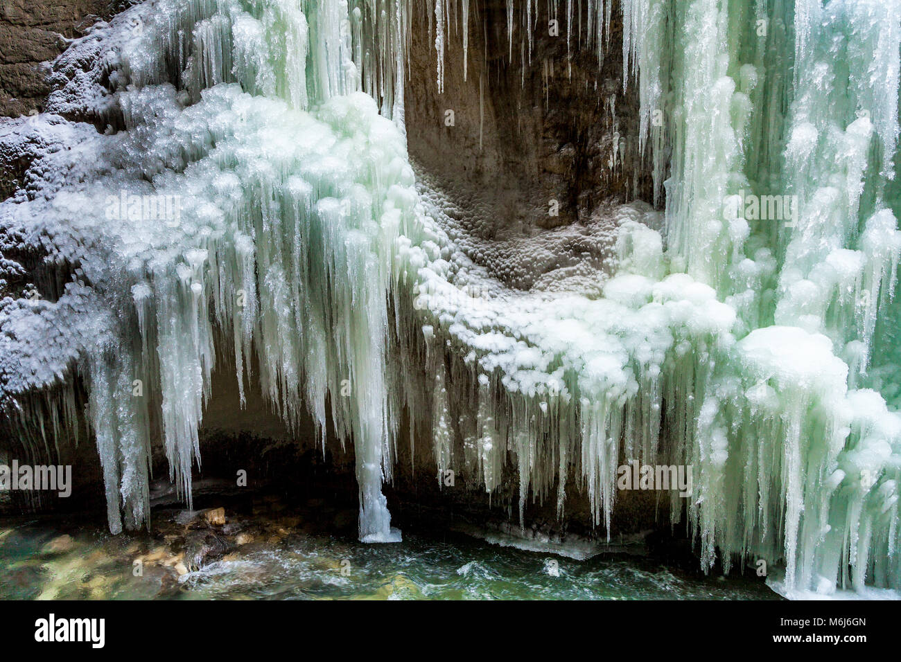 Ice Fall And Icicles In The Partnach Gorge, Bavaria, Germany - Stock Image