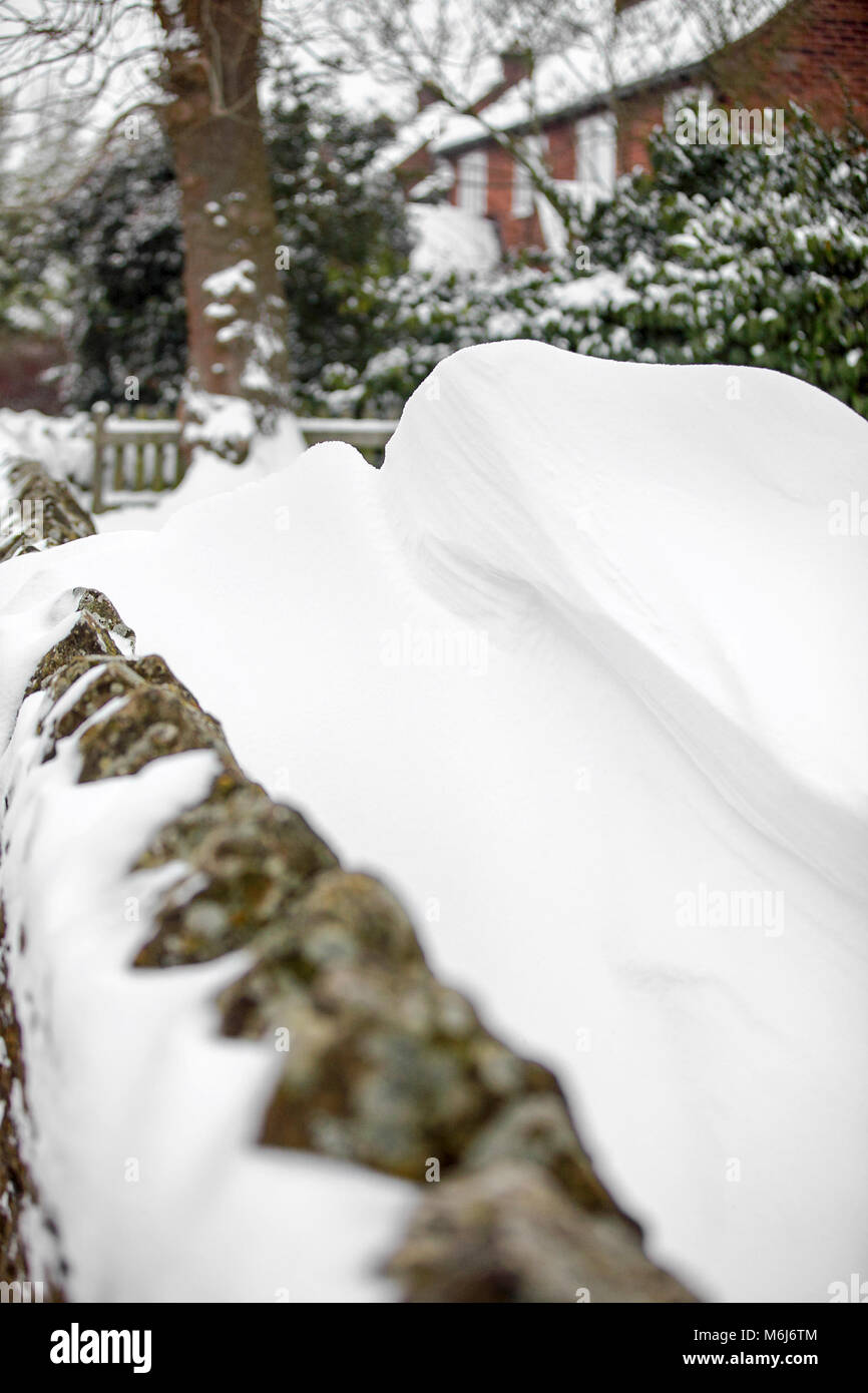 One of (40) images in this Acton Burnell winter set. Combining objects, signs, plant-life, snow drifts and snow Stock Photo