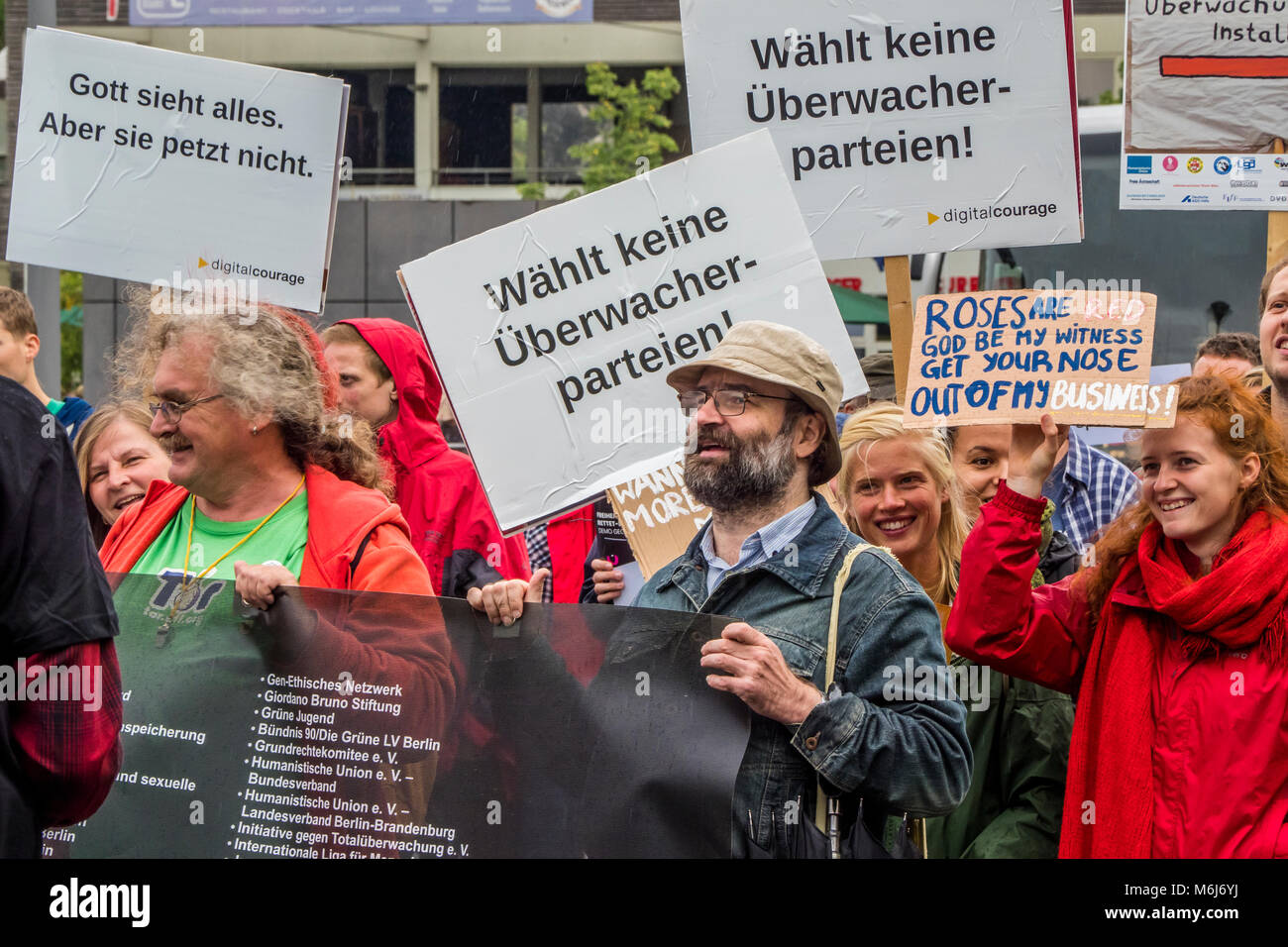 Demonstration against Privacy Intrusion September 2017, Berlin Germany - Stock Image