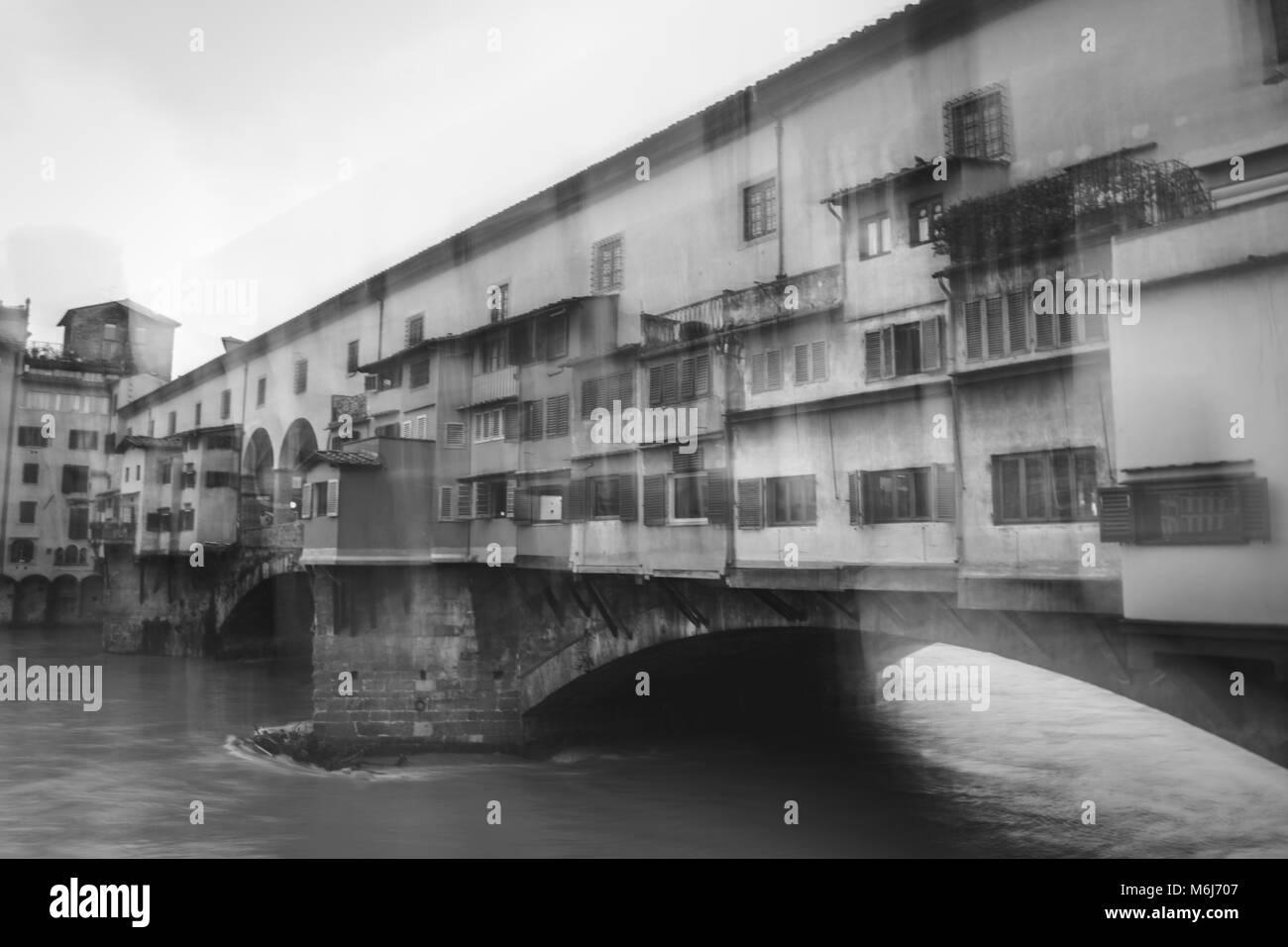 Blurry vision of Ponte Vecchio, blurry vision headache concept. - Stock Image