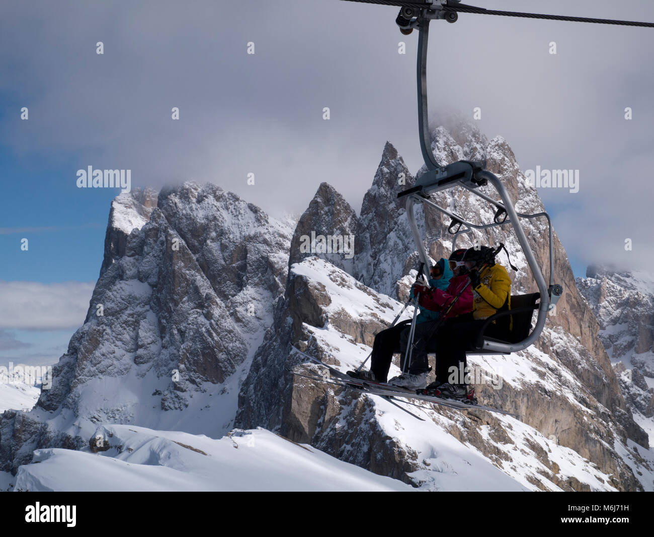Chairlift in Italian Dolomites - Stock Image