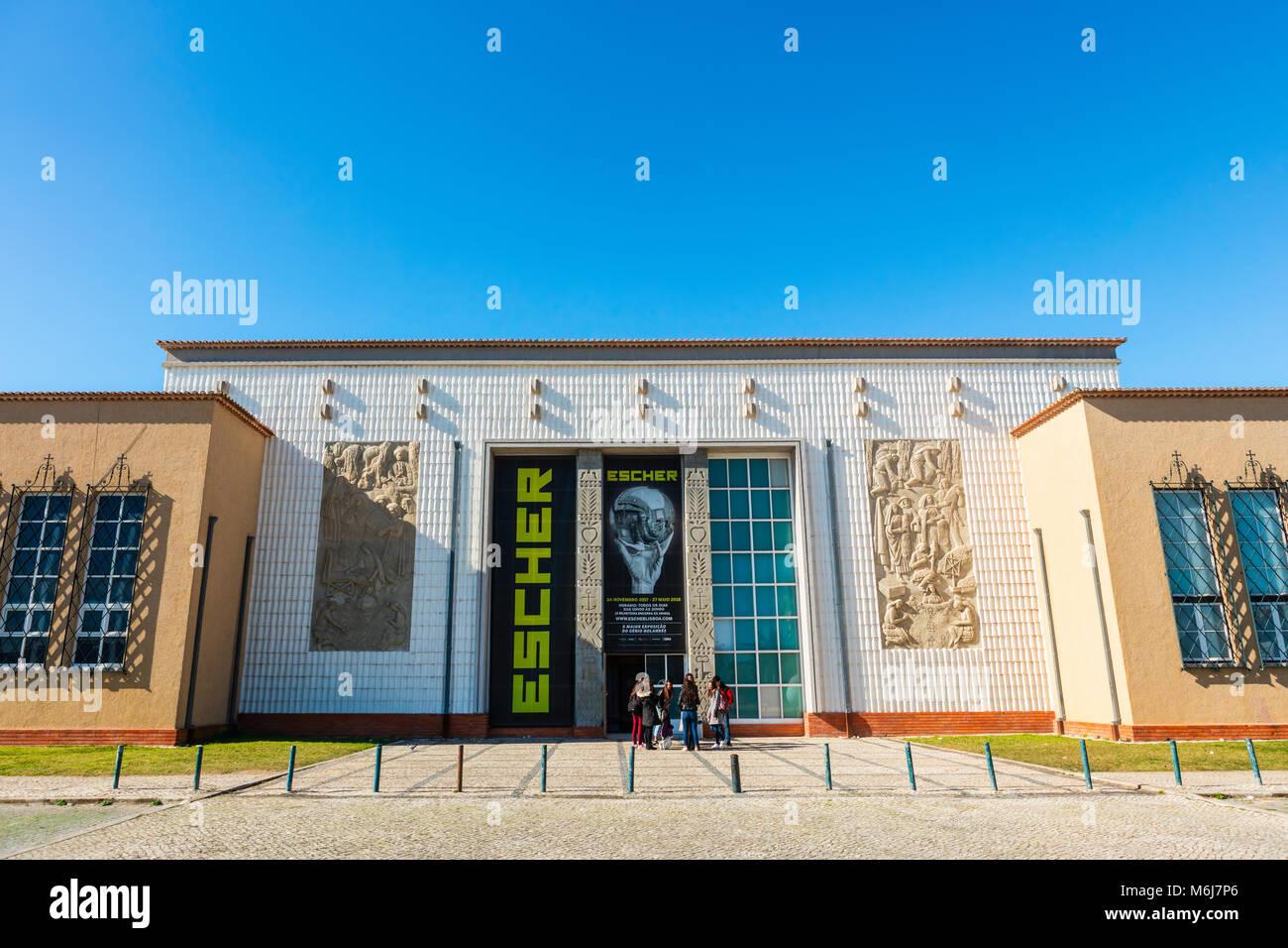 Modern building of Popular Art Museum or Museu de Arte Popular in Belem area of Lisbon. - Stock Image