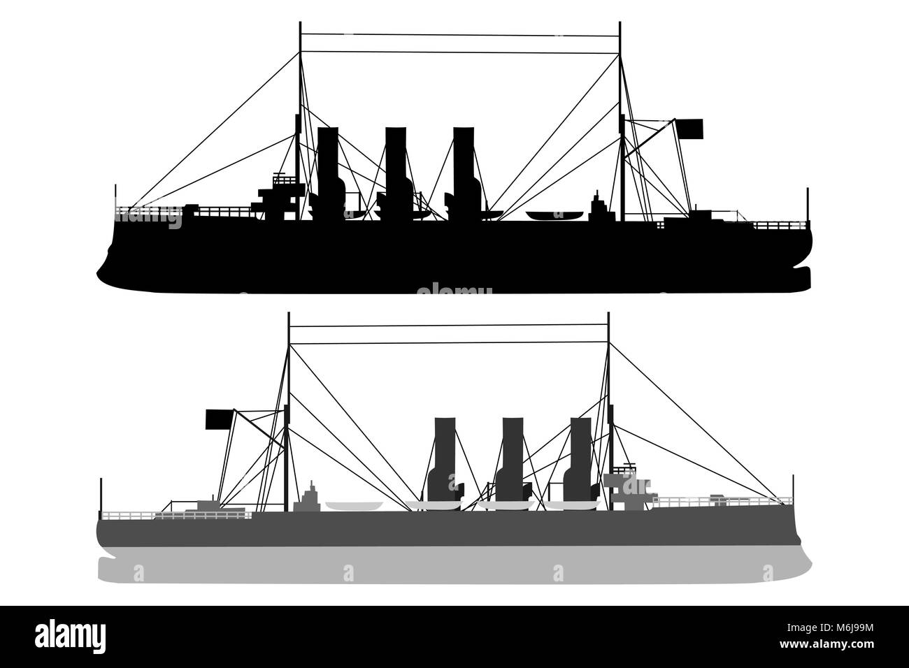 Silhouette  of a ship - vector illustration - black and white, Cruiser Aurora - Stock Image