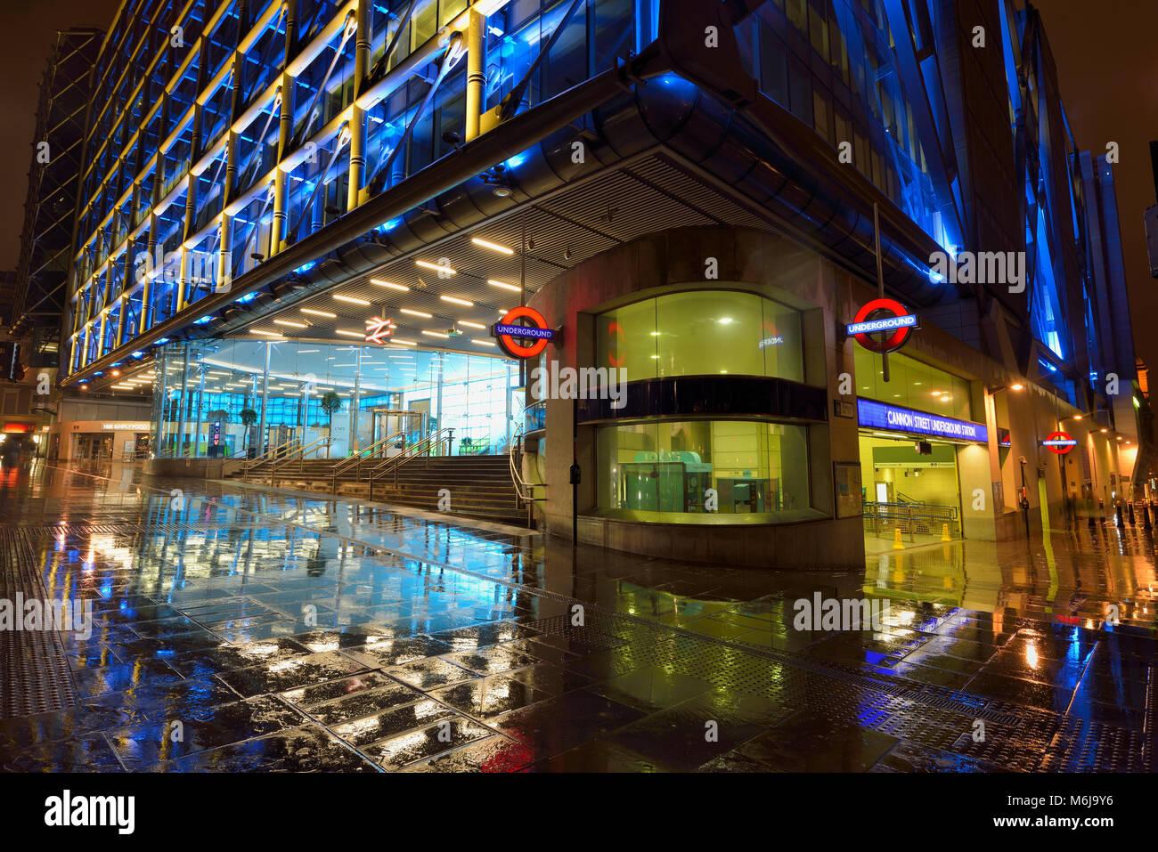Cannon Street Rail stion at night, City of London, United Kingdom - Stock Image