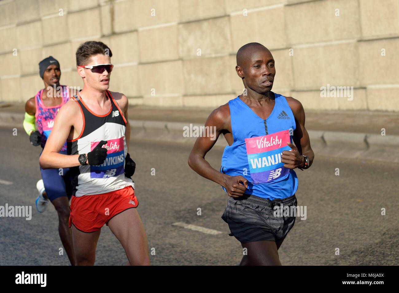 Daniel Wanjiru, Kenyan elite men's competitor, 2018 Vitality Big Half marathon, London,  United Kingdom - Stock Image