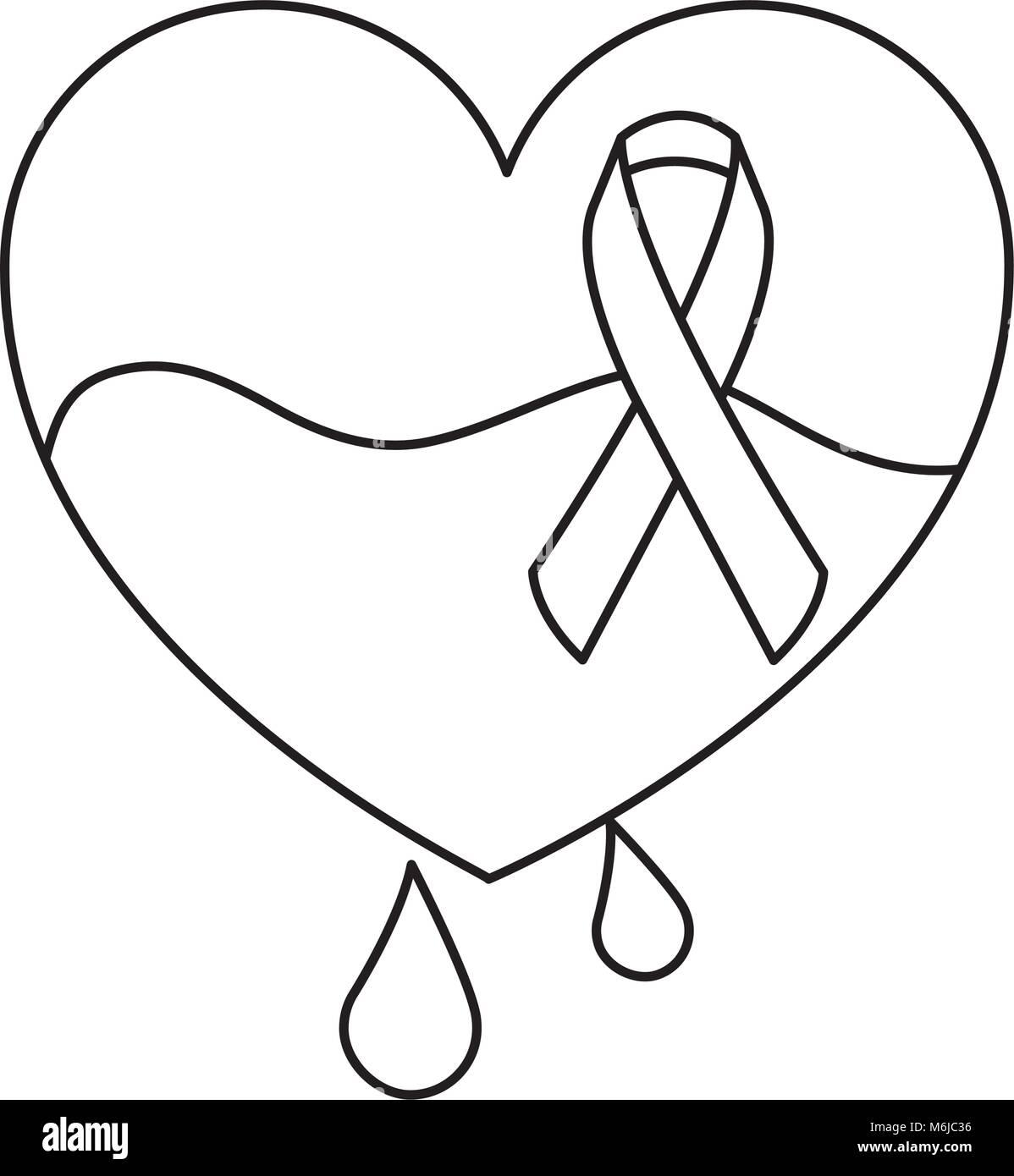 hemophilia heart blood and ribbon card - Stock Image