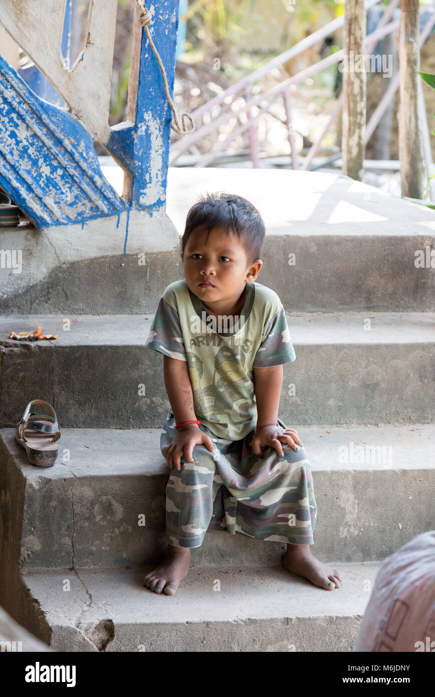 Young asian boy child, aged 5-6 years, Kampot, Cambodia Asia - Stock Image