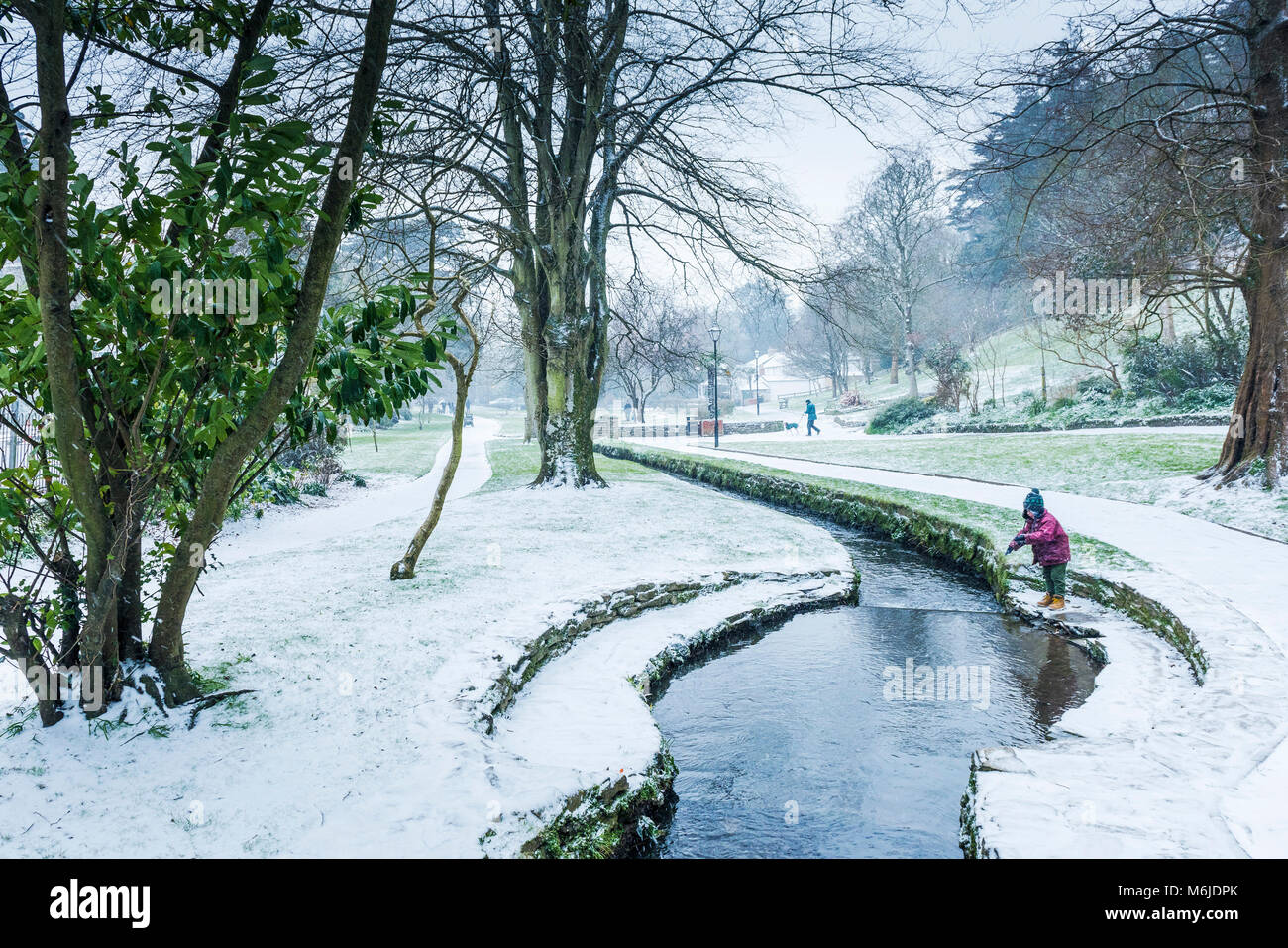 A winter scene in Trenance Gardens in Newquay Cornwall. - Stock Image