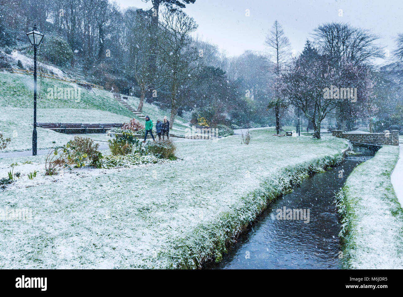 Falling snow in Trenance Gardens in Newquay Cornwall. - Stock Image
